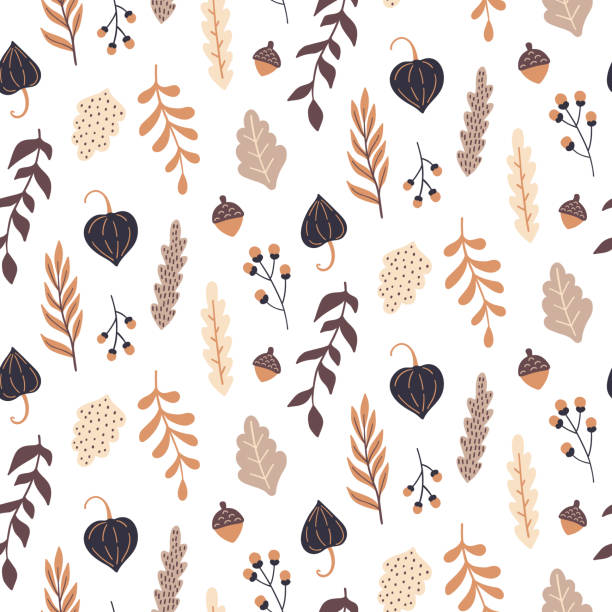 Autumn seamless pattern with wild floral elements. Hand drawn leaves, flowers, herbs, acorns. Vector wallpaper. Autumn seamless pattern with wild floral elements. Hand drawn leaves, flowers, herbs, acorns. Vector wallpaper. autumn drawings stock illustrations