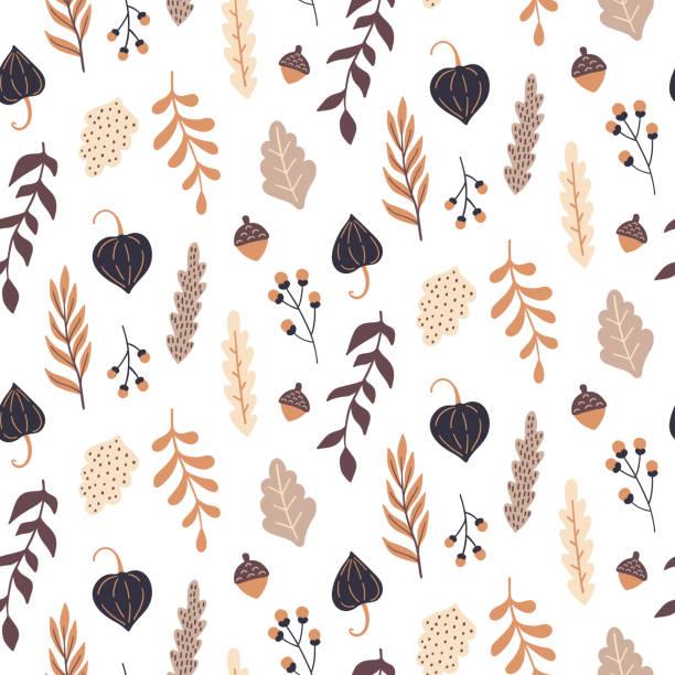 ilustrações de stock, clip art, desenhos animados e ícones de autumn seamless pattern with wild floral elements. hand drawn leaves, flowers, herbs, acorns. vector wallpaper. - hygge