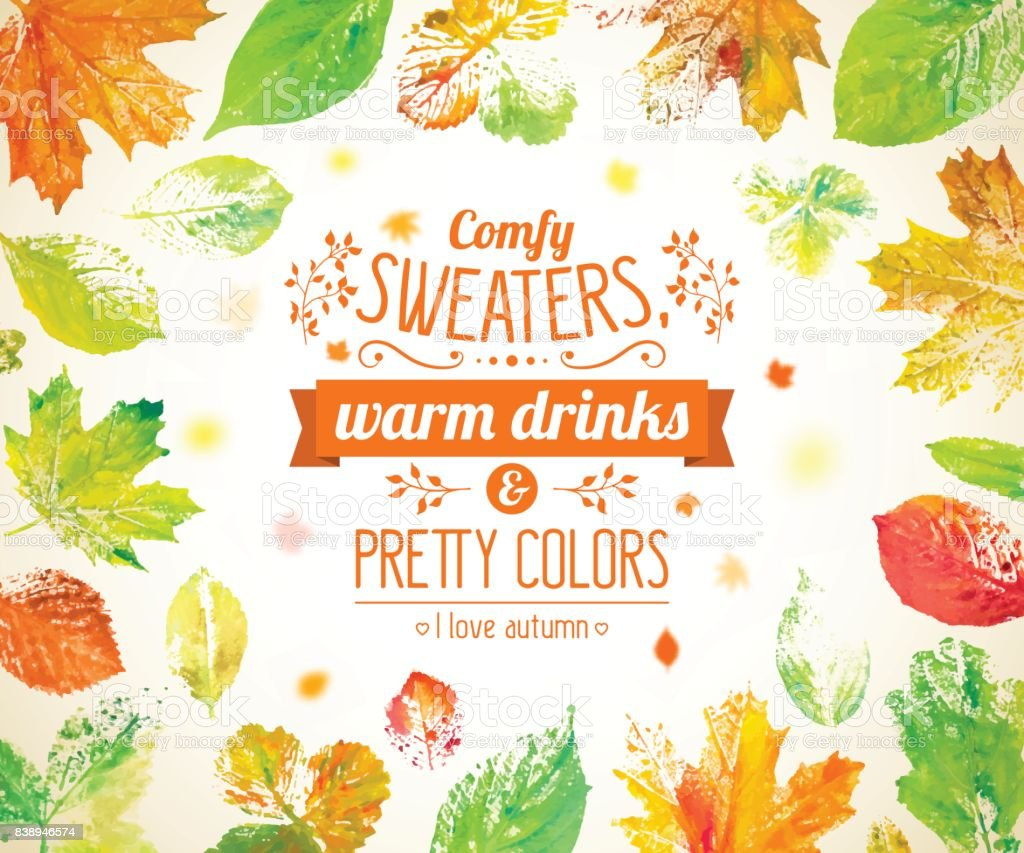 Autumn season banner, poster. Greeting card with text and hand drawn watercolor fall leaves. vector art illustration