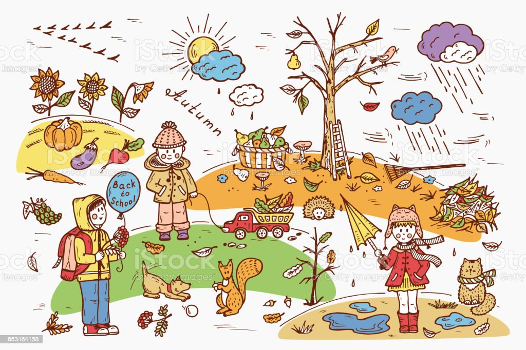 children walk on outdoors background for kids hand drawn doodle - Weather Pics For Kids