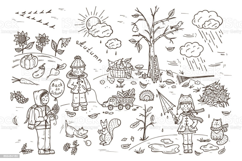 Ilustración de Temporada De Otoño A Los Niños Caminar Al Aire Libre ...