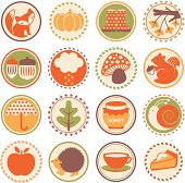 Set of circular color icons on fall / autumn season.