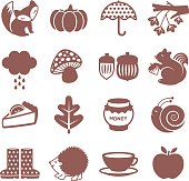 Set of icons on autumn season