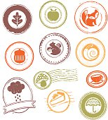 Collection of  fall / autumn grunge rubber stamps and seals.