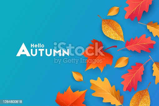 istock Autumn seasonal background with border frame with falling autumn golden, red and orange colored leaves on blue background, place for text 1264800818