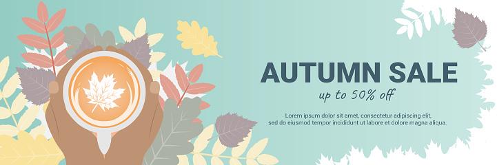 Autumn seasonal sale banner concept
