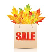 Paper shopping bag with the word sale decorated with autumn maple leaves.shopping bag isolated on white background.illustration of autumn seasonal sales.vector