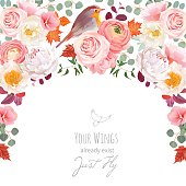 Autumn semicircle frame with wild rose, peony, pink ranunculus, peachy carnation, fall leaves and small robin bird. Cute wedding floral vector design. All elements are isolated and editable.