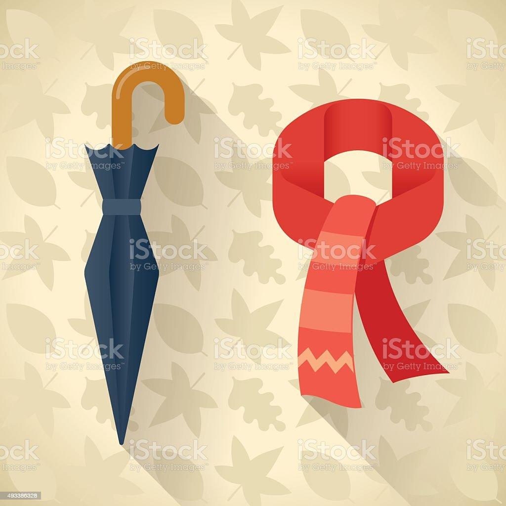 Autumn set of umbrella, scarf vector art illustration