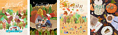 Autumn. Set of vector illustrations of a happy family on holidays at a picnic, car trips, a park with leaf fall and a cozy table with coffee. Freehand drawings for a poster, banner or card