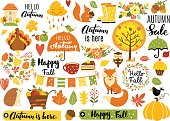 Autumn set, hand drawn elements- calligraphy, fall leaves, forest animals, wreaths, and other. Perfect for web, card, poster, cover, tag, invitation, sticker kit. Vector illustration