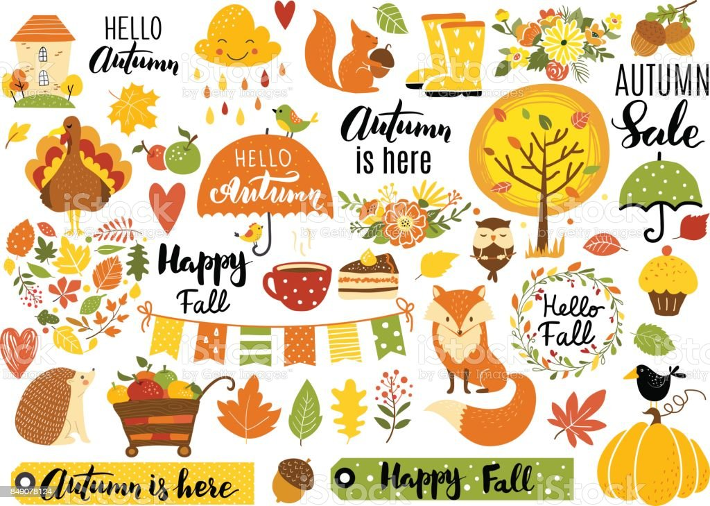 Autumn set vector art illustration