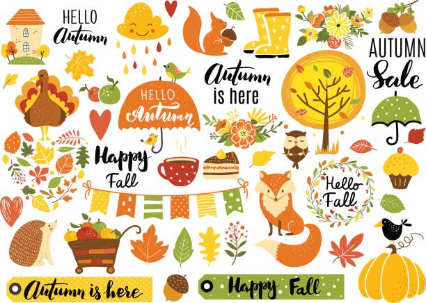 autumn set - fall stock illustrations