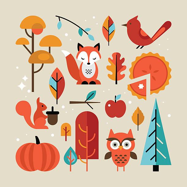 ilustraciones, imágenes clip art, dibujos animados e iconos de stock de autumn set with animals and trees for graphic design - moda de otoño