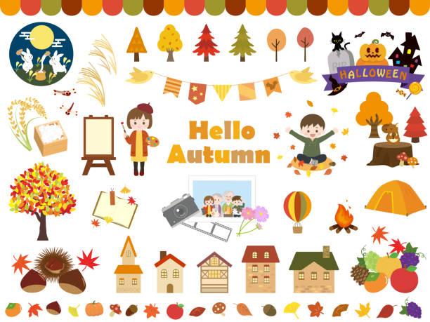 bildbanksillustrationer, clip art samt tecknat material och ikoner med höst set4 - children autumn