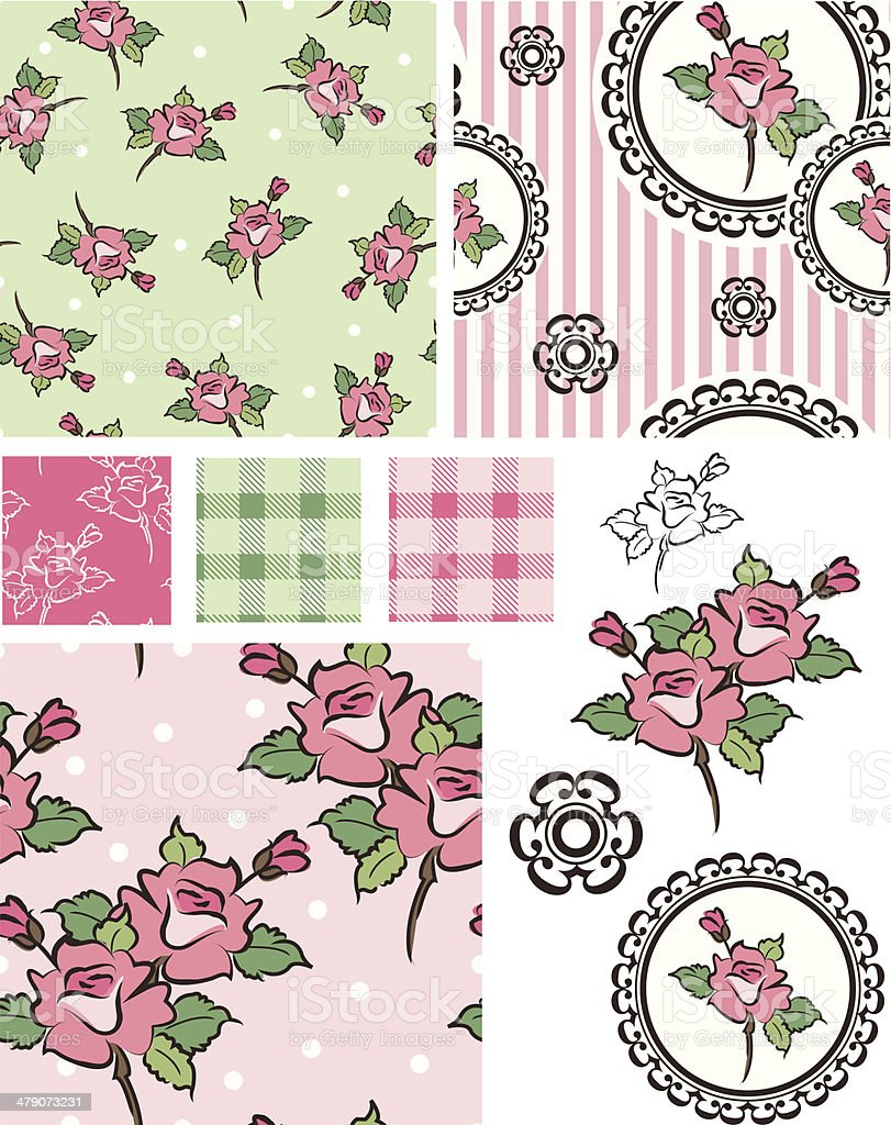 Autumn Shabby Chic Rose Vector Patterns and Icons. vector art illustration