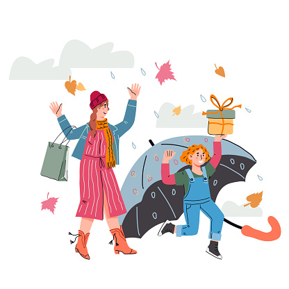 Autumn shopping with mother and daughter, cartoon vector illustration isolated.