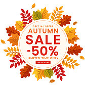 Autumn special offer sale, circle banner with leaves. Vector illustration.