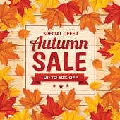 Autumn background and text Special Autumn Sale on wood background.