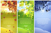Autumn Spring and Winter Season Banner. Each element in a separate layers. Very easy to edit vector EPS10 file. It has transparency layers with blend effects.