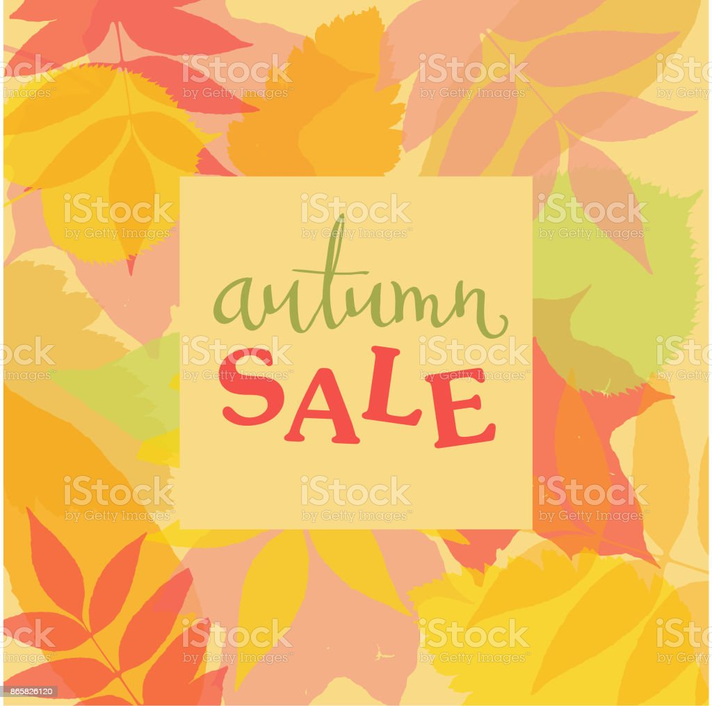 Autumn square frame with colorful leaves silhouettes and handwritten lettering AUTUMN SALE. Vector illustration. vector art illustration