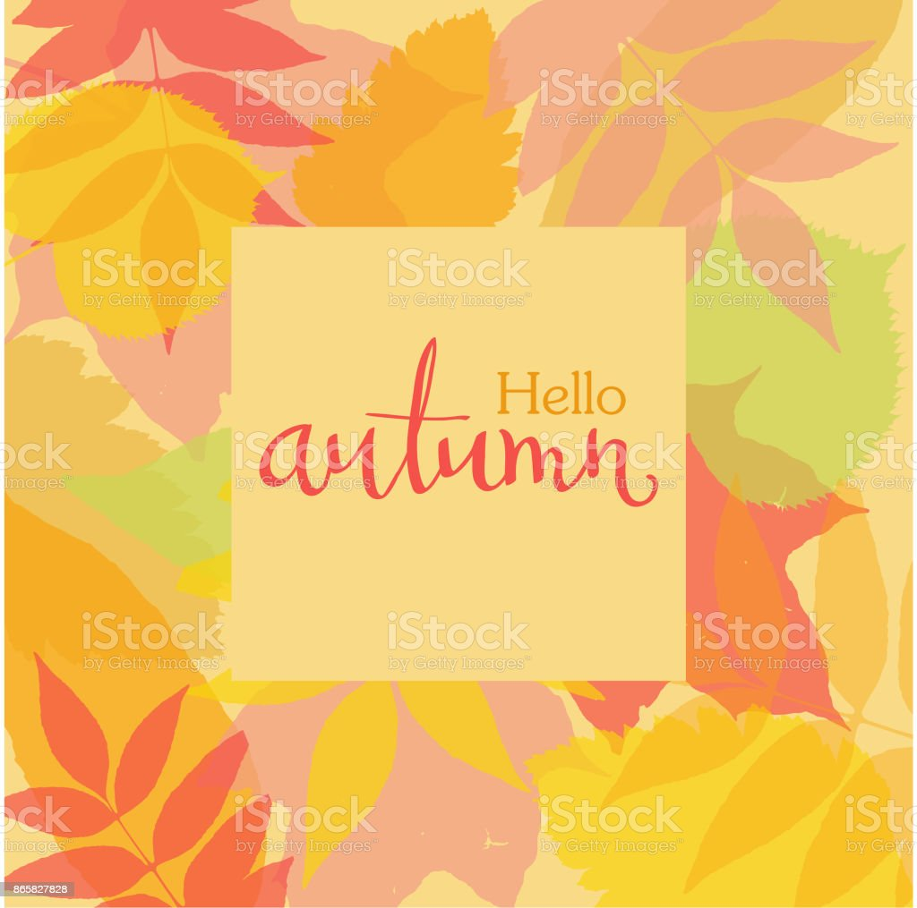 Autumn square frame with colorful leaves silhouettes and handwritten lettering AUTUMN. Vector illustration. vector art illustration