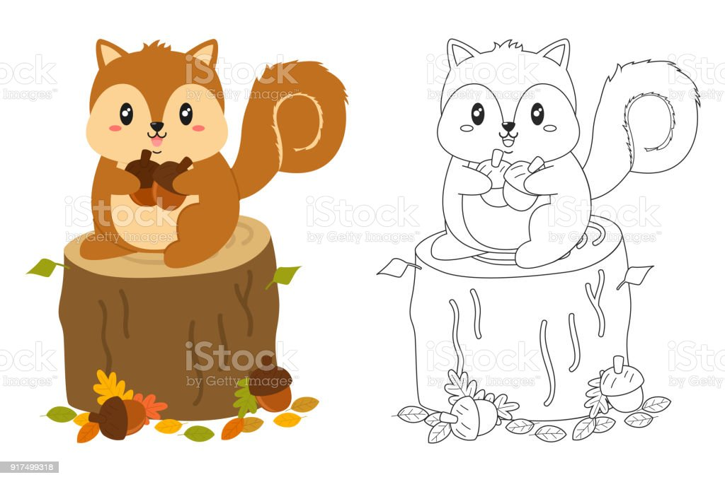 Autumn Squirrel Coloring Page Vector Set Stock Vector Art & More ...