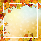 Autumn style blurred vector background with colorful leaves and light effects
