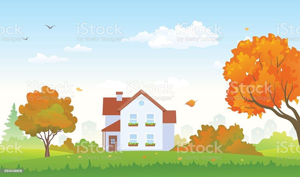 Autumn suburban house vector art illustration