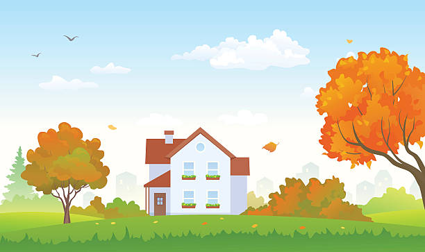 stockillustraties, clipart, cartoons en iconen met autumn suburban house - garden house