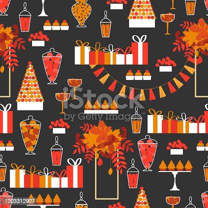 istock Autumn sweet table.Vector  pattern 1203312927