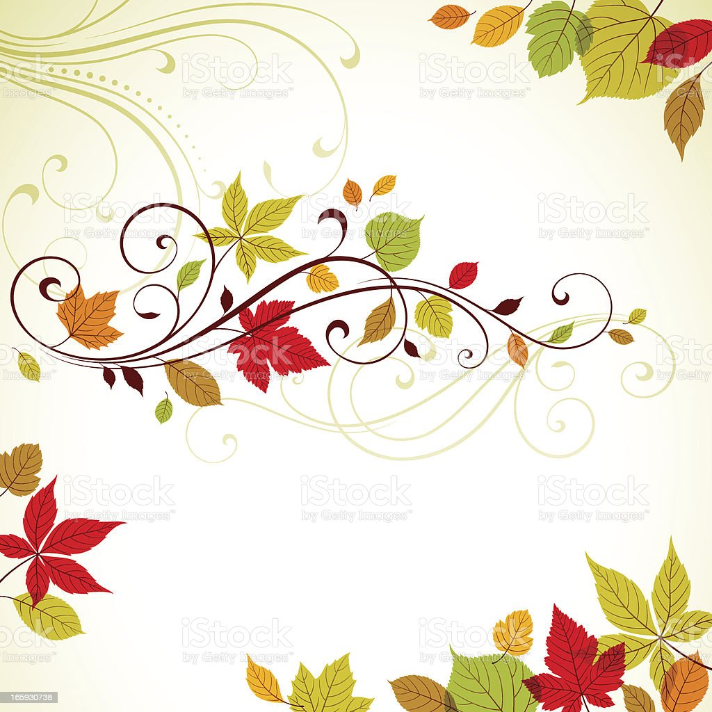 Autumn Swirl and Elements royalty-free stock vector art