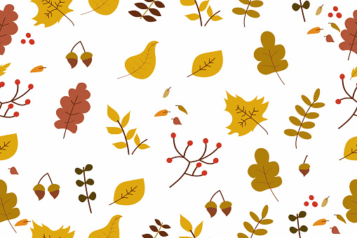 Autumn template background with yellow leaves