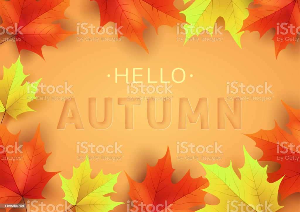 Autumn text greeting in banner design with colorful leaves on orange...