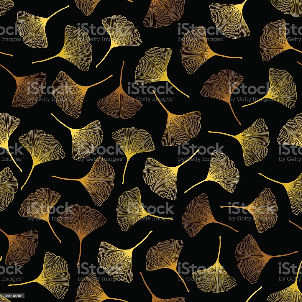 Autumn texture with yellow ginkgo leaves. Seamless pattern. vector art illustration