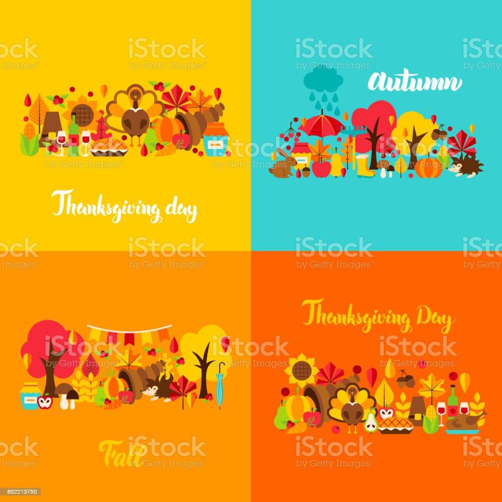 Autumn Thanksgiving Concept Set vector art illustration