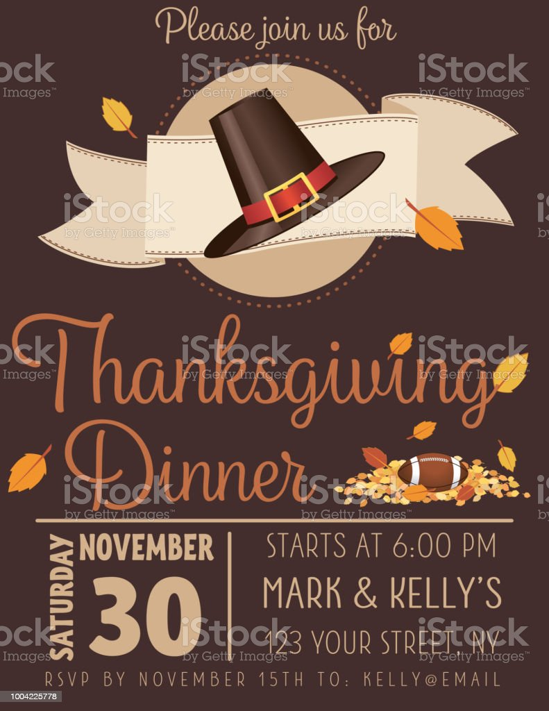 Autumn Thanksgiving Dinner Invitation Template Stock Vector Art