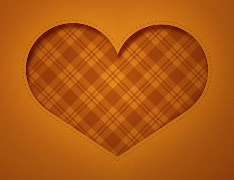 Autumn Thanksgiving Fall Cut Paper Heart Plaid Background