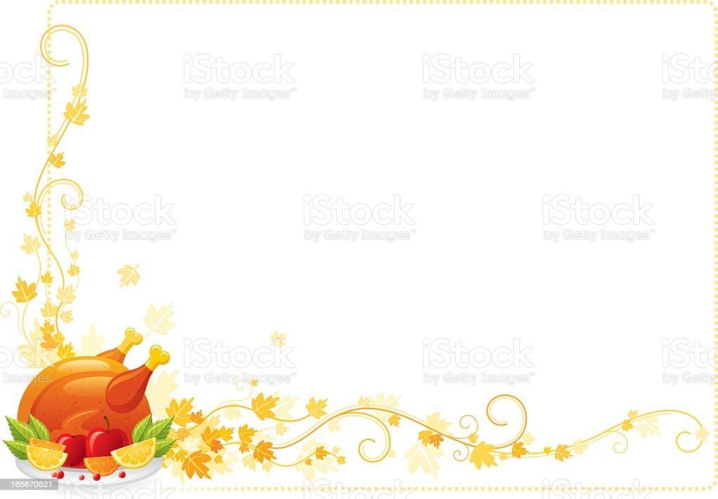 Autumn thanksgiving frame with turkey vector art illustration