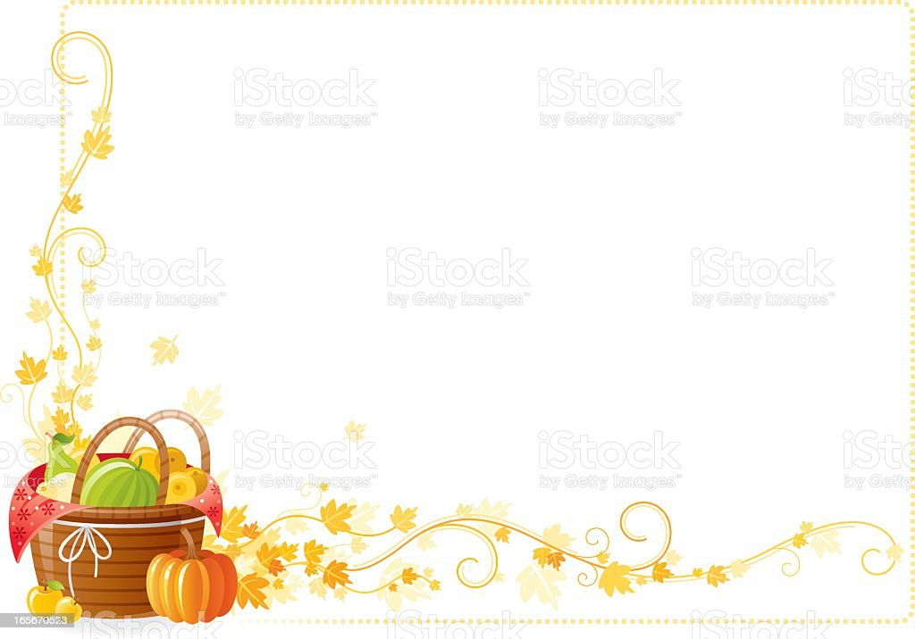 Autumn thanksgiving frame with vine and fruits basket royalty-free stock vector art