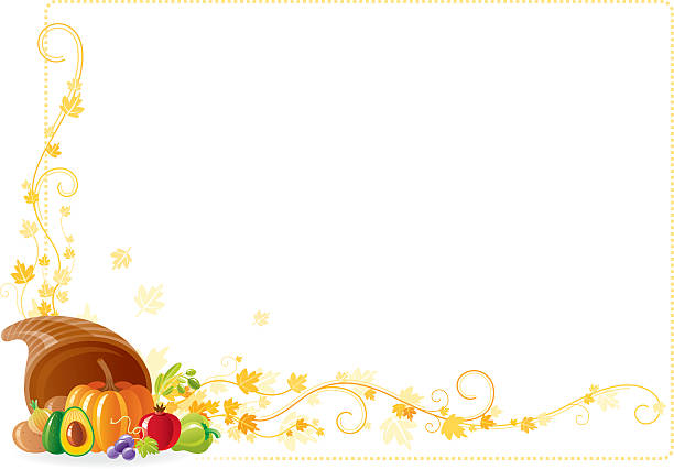 Autumn thanksgiving frame with vine and horn of plenty Thanksgiving frame: vine, horn of plenty, fruits. AI10, CDR11, JPG. avocado borders stock illustrations