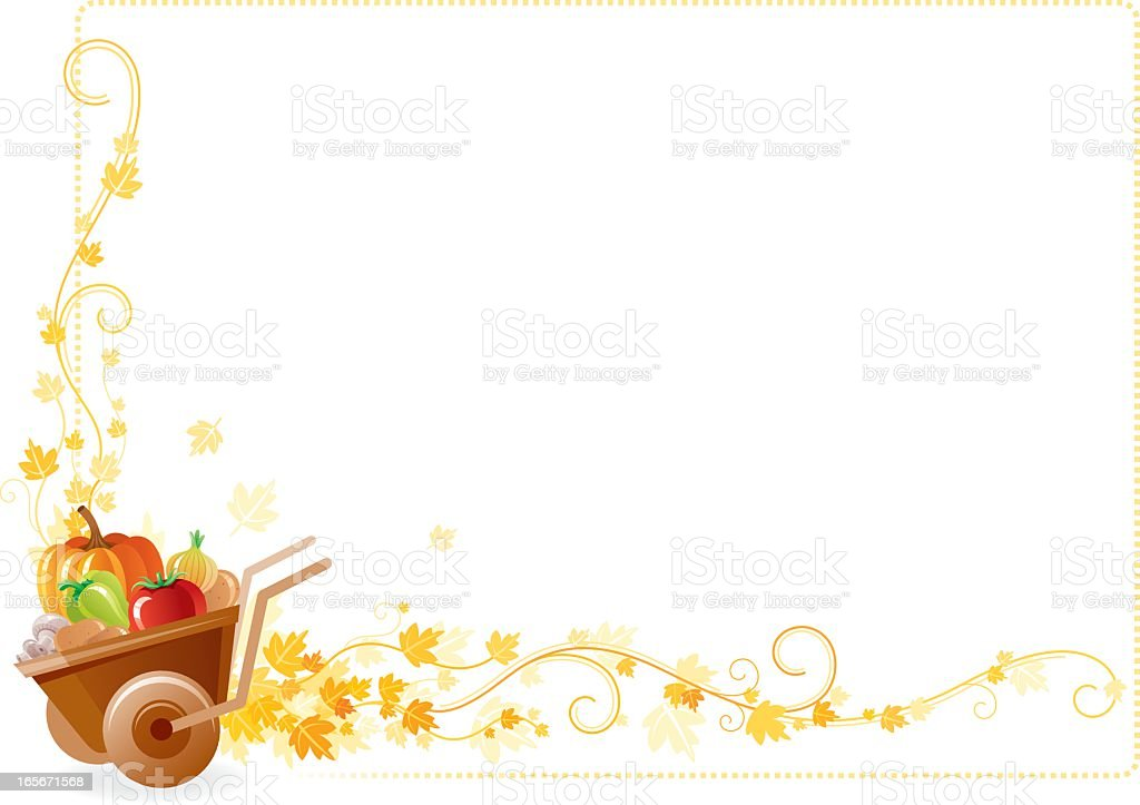 Autumn Thanksgiving Frame With Vine And Wheel Stock Vector Art ...