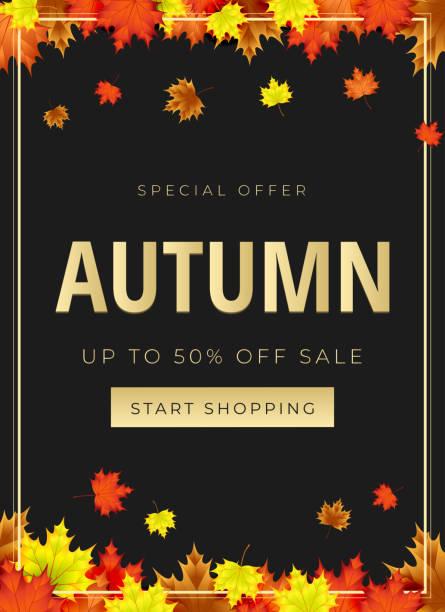 ilustraciones, imágenes clip art, dibujos animados e iconos de stock de tema de otoño. diseño de fondo de venta decorar con hojas de promo o compra venta - moda de otoño