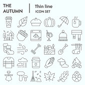 Autumn thin line icon set, Falling leaves season themed symbols collection, vector sketches, logo illustrations, web symbols, linear pictograms package isolated on white background, eps 10