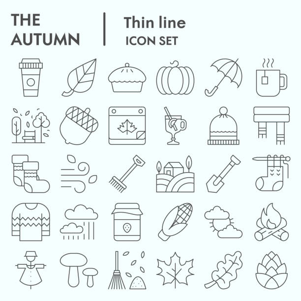 Autumn thin line icon set, Falling leaves season themed symbols collection, vector sketches, logo illustrations, web symbols, linear pictograms package isolated on white background, eps 10. Autumn thin line icon set, Falling leaves season themed symbols collection, vector sketches, logo illustrations, web symbols, linear pictograms package isolated on white background, eps 10 autumn symbols stock illustrations