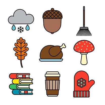 Autumn Thin Line Icon Set