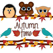 Autumn time card with a cute porcupine, bear and owl - Vector