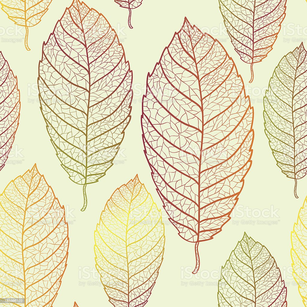 Autumn transparent leaves pattern background royalty-free stock vector art