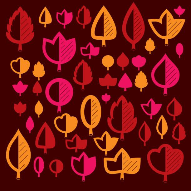 herbst baum blätter, botanik und eco flache bildern. vektor-illustration von kräutern, sammlung von natürlichen und ökologie-elemente kann in web-design verwendet werden. - buchenholz stock-grafiken, -clipart, -cartoons und -symbole