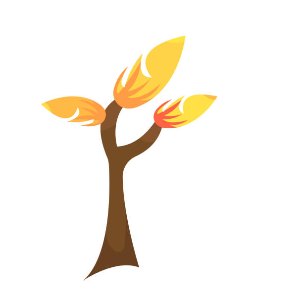 autumn tree logo with bright orange leaves and artistic patterns vector art illustration